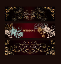 set luxury templates for wedding designs vector image