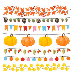 Set of cute autumn fall garlands with lights vector
