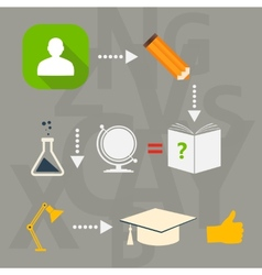 Set of flat icons for study and education vector