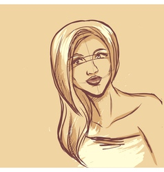 Sketch of woman portrait vector image