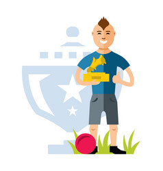 soccer player with award at hands vector image