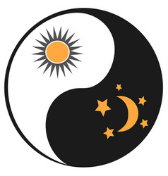 Sun and moon in ying yang symbol vector