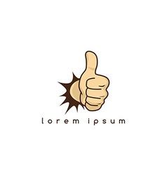 Thumb up hand sign gesture cartoon theme vector