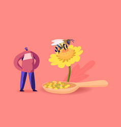 Tiny male character stand at huge flower with bee vector