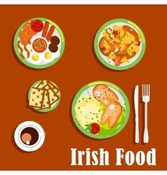 Traditional irish cuisine dishes set vector image