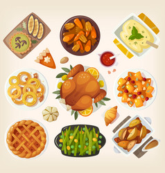 traditional thanksgiving dinner vector image