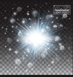 transparent glow light effect star sparkles vector image