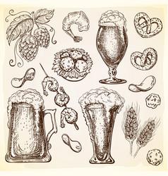 various beer mugs with beer ingredients and snacks vector image