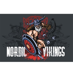 Viking norseman mascot cartoon with bludgeon and vector