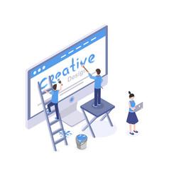 Web design studio isometric vector