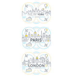 website banner and landing page paris london new vector image