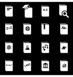 White schoolbook icon set vector