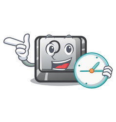 with clock button o on a game character vector image