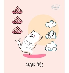 Yoga-Cat in Chair pose vector image