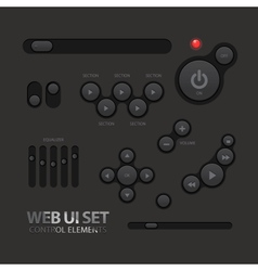 Black Web UI Elements Buttons Switches vector image