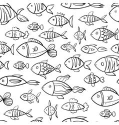 Hand drawn fish pattern vector image vector image