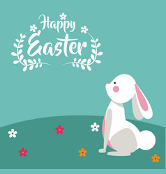 happy easter bunny floral design vector image