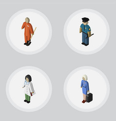 Isometric person set of hostess doctor cleaner vector