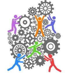 people teamwork gears background vector image vector image