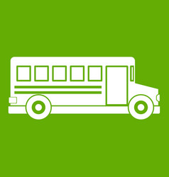 school bus icon green vector image