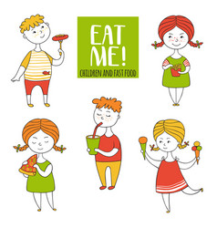 set boys and girls food vector image