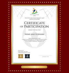 sport theme certificate of participation template vector image vector image