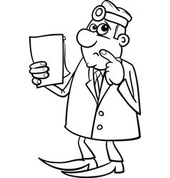 thinking doctor black and white cartoon vector image vector image