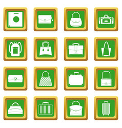 bag baggage suitcase icons set green vector image