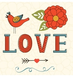 Beautiful love card with love lettering flower vector image