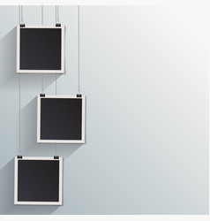 blank retro vintage photo frames on a wall vector image vector image