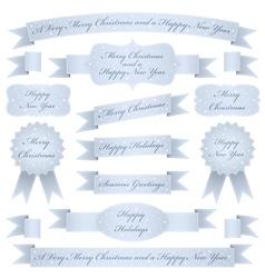 blue christmas ribbons vector image vector image