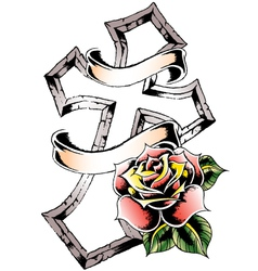 cross rose emblem vector image