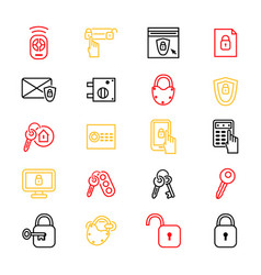 keys and locks thin line icon set vector image