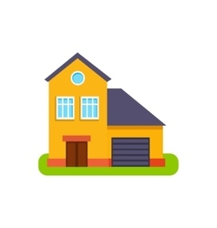 Orange Suburban House Exterior Design With Garage vector image vector image
