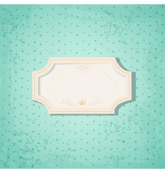 Retro Frame on Blue Spotted Background vector image vector image