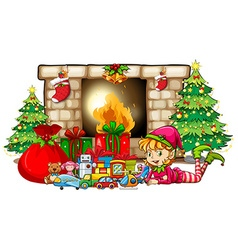 Christmas theme with elf and toys by fireplace vector image vector image