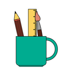 color image cartoon pencil holder with brush and vector image vector image