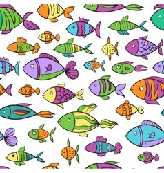 Hand drawn colorful seamless pattern with fishes vector image vector image
