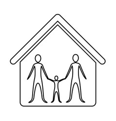 monochrome contour of family group in home vector image vector image