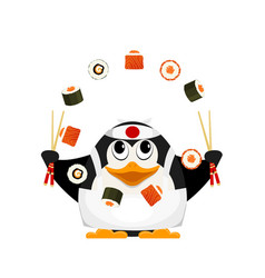 chef of japanese cuisine small young penguin vector image vector image
