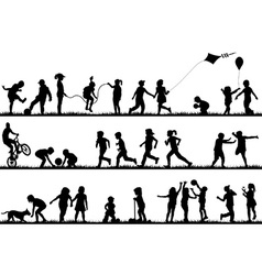 Children silhouettes playing outdoor vector image vector image