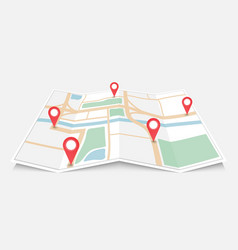 folded paper city map with red pin pointer vector image vector image