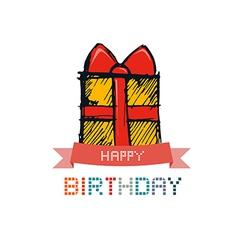 Hand Drawn Gift Box Present Box vector image