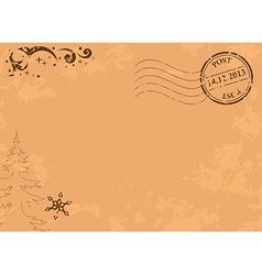 vintage christmas postcard with post stamp vector image