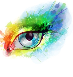 Woman eye made colorful splashes vector image vector image