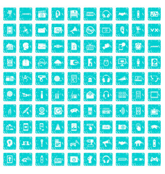100 audio icons set grunge blue vector