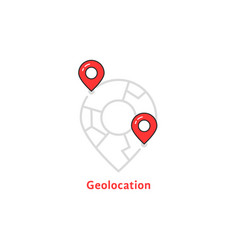 Abstract geolocation logo with map pin vector