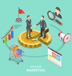 affiliate marketing flat isometric concept vector image
