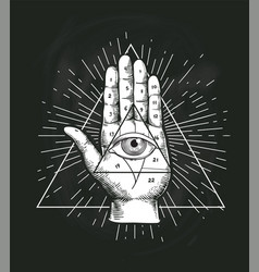 All seeing eye triangle geometric design vector