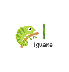 alphabet letter i and iguana vector image